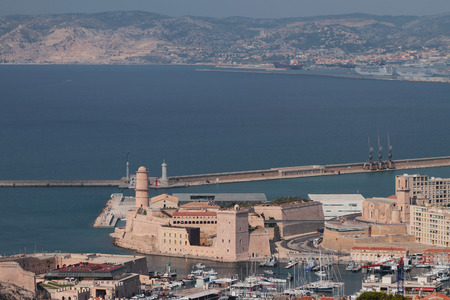 Fort Saint-Jean, port city and sea. Marseille, France
