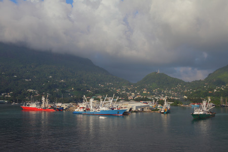 Seaport water area on tropical island. Victoria, Mahe, Seychelles