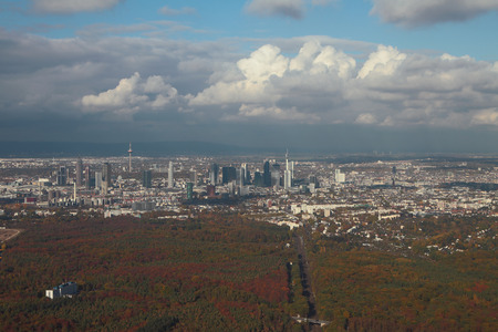 Large city and aerial photograph. Frankfurt am Main, Germany