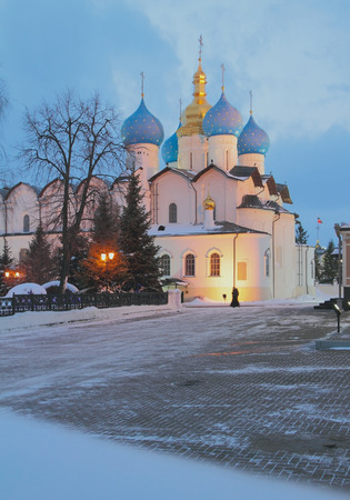 Blagoveshchensky Cathedral in evening in January. Kazan, Russia