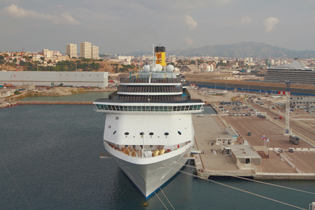 Cruise liner moored in port. Marseille, France