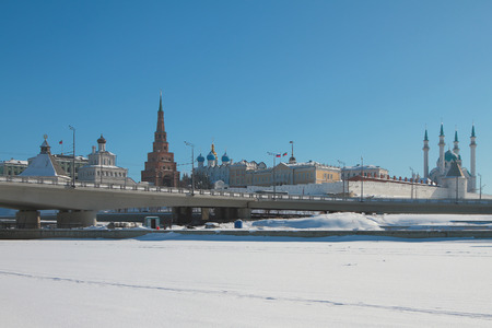 River under snow cover, bridge and Kremlin. Kazan, Russia