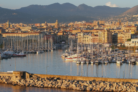 Gulf La Cala, port and city. Palermo, Sicily Stock Photo