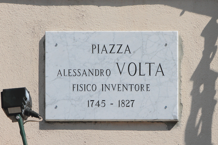 Memorial plate with name of physicist-inventor Alessandro Volta. Como, Italy