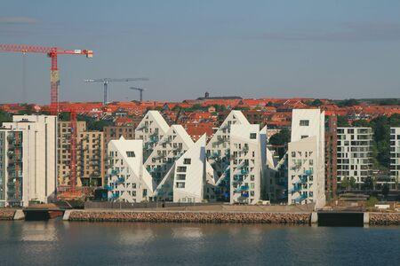 Aarhus, Denmark - Jul 12, 2018: New buildings on sea coast