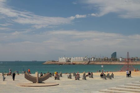Barcelona, Spain - Jun 13, 2019: Recreation area on beach