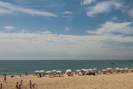 Barcelona, Spain - Jun 13, 2019: Beach and sea Redakční