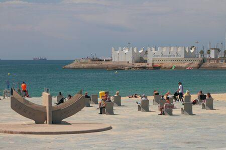 Barcelona, Spain - Jun 13, 2019: Relax zone on sea coast