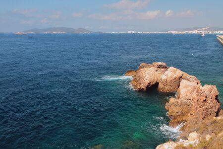 Sea gulf and rock. Ibiza, Spain