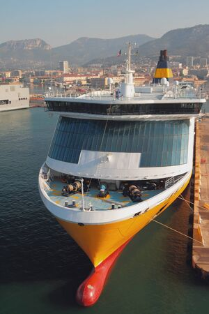 Ferry on parking in port. Toulon france