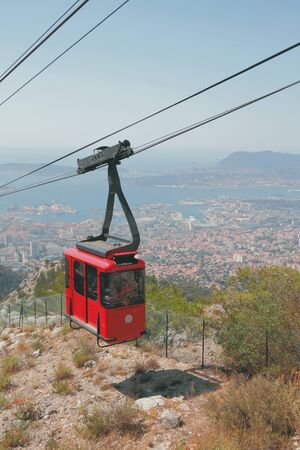 Red cabin of cableway. Toulon france Stok Fotoğraf