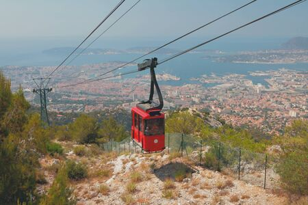 Cableway over seaside city. Toulon france Stok Fotoğraf