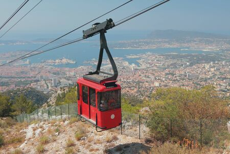Cableway cabin over seaside city. Toulon france Stok Fotoğraf