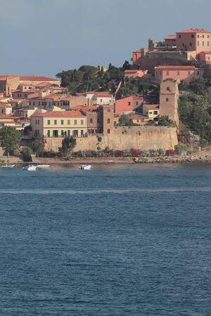 Medieval town on sea shore. Portoferraio, Elba Island, Italy
