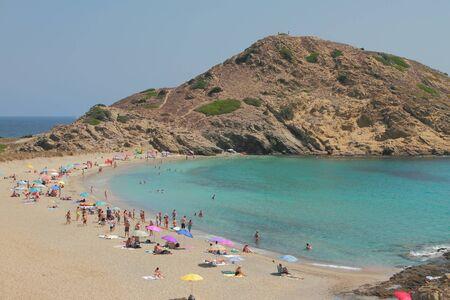 Sandy beach on sea coast. Cala Mesquida, Menorca, Spain