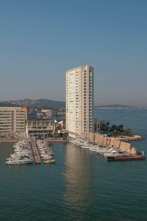 Town and yacht marina on sea coast. Toulon france