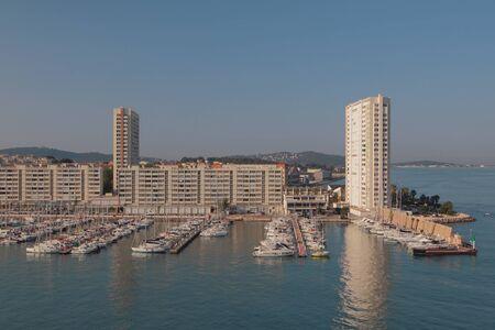 Yacht marina and town on sea coast. Toulon france Stok Fotoğraf