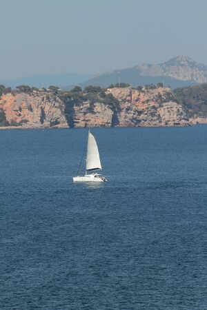 Sailing-motor yacht in sea. Toulon france