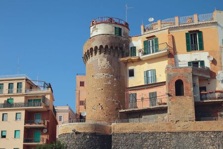 Ancient tower and city. Nettuno, Lazio, Italy