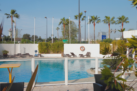 Pool at hotel in city. Nice, France Editorial