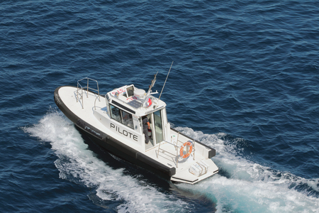 Toulon, France - Jul 01, 2019: Pilot-boat in sea