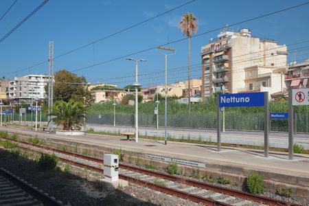 Nettuno, Lazio, Italy - Sep 16, 2019: Electrified railway and station