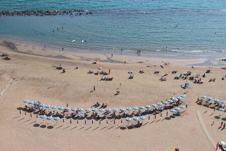 Sandy beach on sea coast. Nettuno, Lazio, Italy
