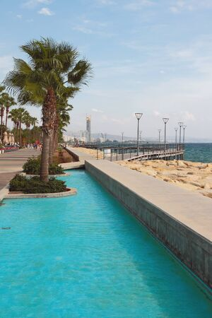 City embankment on sea coast. Limassol, Cyprus Stok Fotoğraf