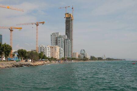 Modern construction on sea coast. Limassol, Cyprus