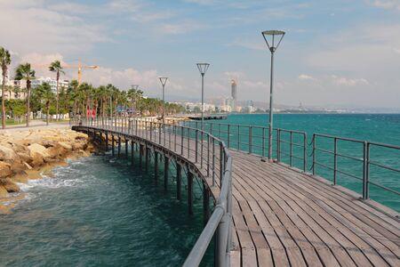 Walking bridge on city embankment. Limassol, Cyprus