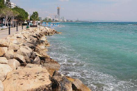 Waterfront embankment and sea. Limassol, Cyprus