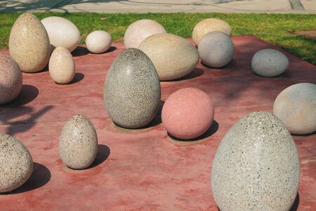 Big marble eggs in park. Limassol, Cyprus
