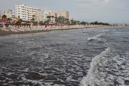 Resort town on sea coast. Larnaca, Cyprus Stok Fotoğraf