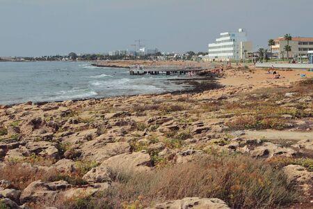 Rocky coast in Mediterranean resort. Agia Napa, Cyprus Stok Fotoğraf