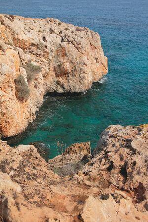 Rocky shore and small bay. Cape Greco, Aya Napa, Cyprus