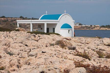 Stone Coast and Church of Saints Unmercenaries. Cape Greco, Aya Napa, Cyprus
