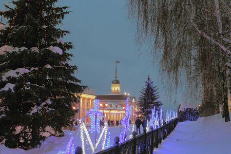 Gun yard January night. Kazan, Russia