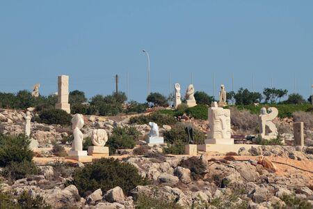 Agia Napa, Cyprus - Oct 26, 2019: Sculpture park on mountain slope