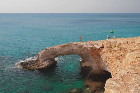 Natural stone arch Love Bridge. Agia Napa, Cyprus