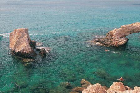 Rocks in sea. Agia Napa, Cyprus Stok Fotoğraf