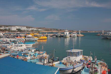 Agia Napa, Cyprus - Oct 25,2019: Harbor in Mediterranean resort city Editöryel
