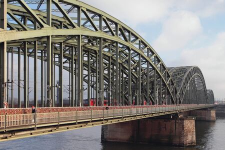 Hohenzollern steel arch bridge. Cologne, Germany