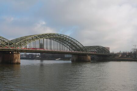 Steel arch bridge over Rhine River. Cologne, Germany