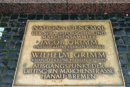 Hanau, Germany - Jan 09, 2020: Commemorative plaque dedicated to Grimm brothers