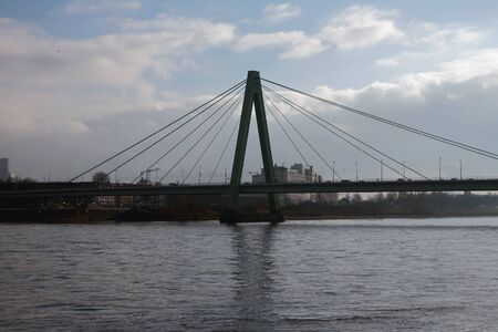 Cable-stayed bridge over Rhine River. Cologne, Germany Stok Fotoğraf