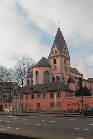 Cologne, Germany - Jan 07, 2020: Catholic Church and Road
