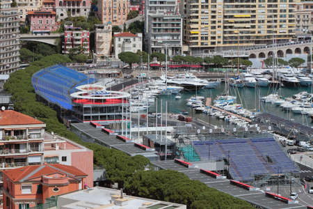 Monte Carlo, Monaco - Apr 19, 2019: City and stands on race track