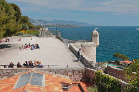 Monte Carlo, Monaco - Apr 19, 2019: Park area on territory of ancient fort