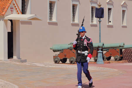 Monte Carlo, Monaco - Apr 19, 2019: Guard guard at walls of the princely palace