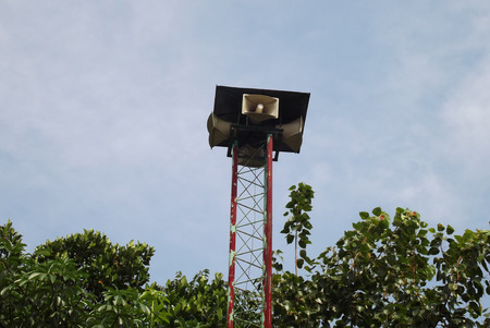 Speaker on high tower and clear sky